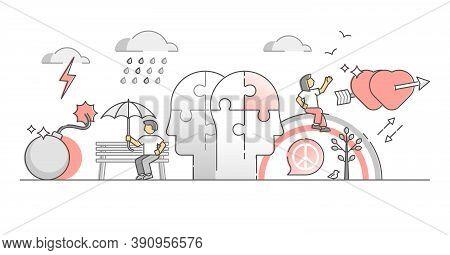 Human Feelings And Emotional Mood Or Dual Behavior Outline Monocolor Concept. Mental Bipolar Persons