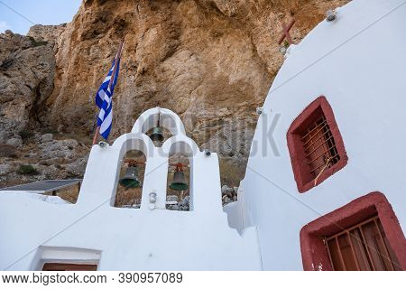 Panagia Katefiani On Path To Ancient Thira, Archeological Site. Mesa Vouno Mountain. Greek Island Of