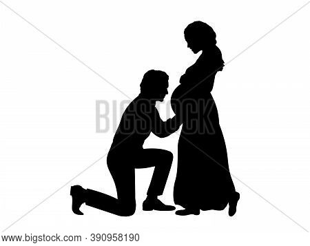 Silhouette Husband Kneels In Front Of His Pregnant Wife Side View. Illustration Graphics Icon Vector