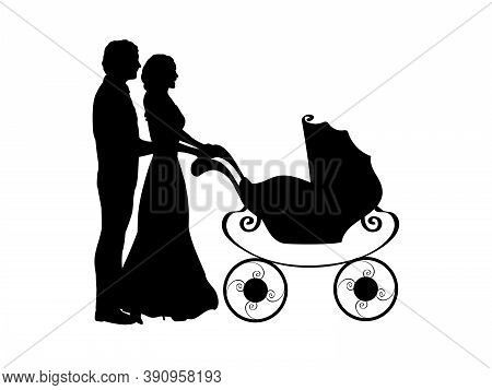.silhouette Parents Pushing Baby Stroller. Illustration Graphics Icon Vector