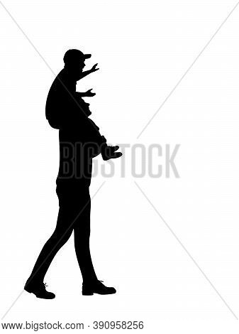 Silhouette Of Father Carrying Son On Shoulders. Illustration Graphics Icon Vector