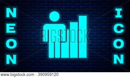 Glowing Neon Productive Human Icon Isolated On Brick Wall Background. Idea Work, Success, Productivi