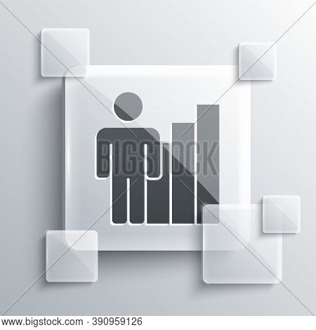 Grey Productive Human Icon Isolated On Grey Background. Idea Work, Success, Productivity, Vision And