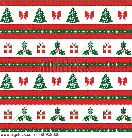 Christmas Seamless Pattern With Holly, Christmas Tree, Gift, With Horizontal Stripes. Seamless Chris