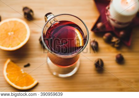 Red Hot Wine With Spices, Christmas Hot Spicy Drink. Seasonal Mulled Wine. Mulled Wine With Orange A