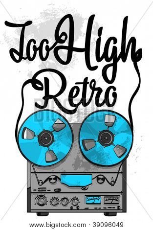 Vector illustration of retro record player with wording