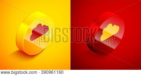 Isometric Cloud With Rain Icon Isolated On Orange And Red Background. Rain Cloud Precipitation With