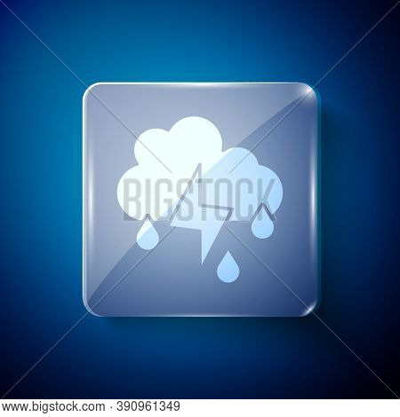 White Cloud With Rain And Lightning Icon Isolated On Blue Background. Rain Cloud Precipitation With