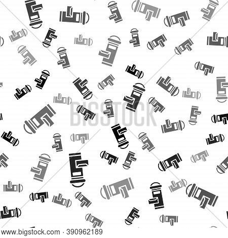 Black Traditional London Mail Box Icon Isolated Seamless Pattern On White Background. England Mailbo