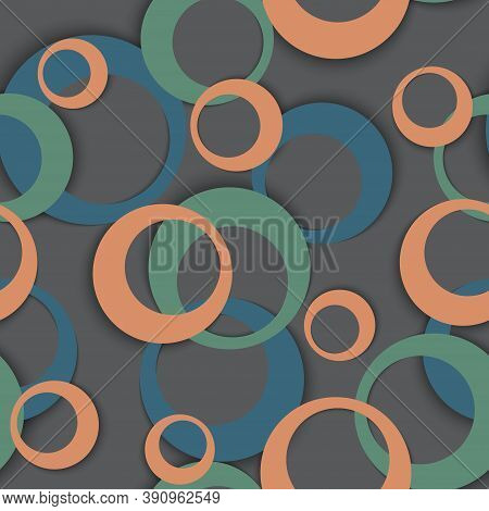 Circle Rings Abstract Geometric Seamless Pattern. Circular Shapes Kids Clothes Fasion Textile Print.