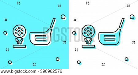 Black Line Golf Flag And Golf Ball On Tee Icon Isolated On Green And White Background. Golf Equipmen