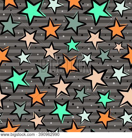 Seamless Pattern With Multicolored Stars On A Striped Gray Background. Casually Hand Drawn Stars For