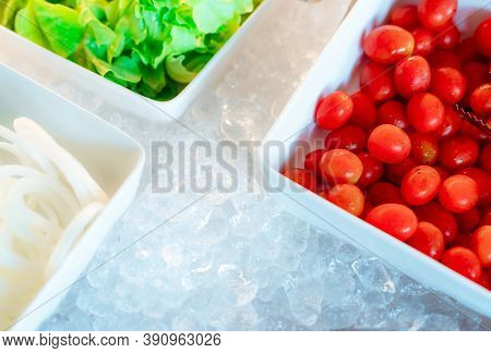 Salad Bar Buffet At Restaurant. Fresh Salad Bar Buffet For Lunch At Event In Hotel. Healthy Food. Fr