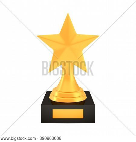 Winner Star Cup Award On Stand With Empty Plate, Golden Trophy Logo Isolated On White Background, Ph