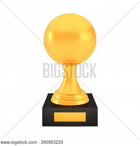 Winner Volleyball Cup Award On Stand With Empty Plate, Golden Trophy Logo Isolated On White Backgrou