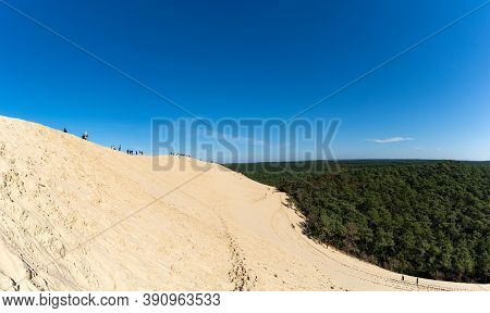 Arcachon, Gironde / France - 18 October 2020: Many Tourists Enjoy A Visit To The Ladnark Dune De Pil