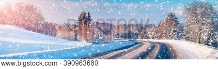 Winter Road Panorama On Beautiful Snowy Road