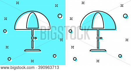 Black Line Sun Protective Umbrella For Beach Icon Isolated On Green And White Background. Large Para