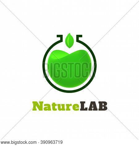 Nature Lab Logo Template, Green Colorful Vector Graphic Design Element For Environment Business, Eco