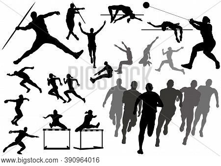 Track And Field Athletes Silhouette Set Isolated On A White Background. Vector Illustration.