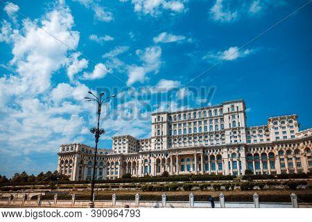 BUCHAREST, ROMANIA - August 28, 2017: Parliament in Bucharest, Romania