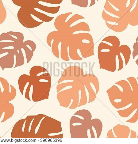 Seamless Pattern With Monstera. Composition With Leaves. Contemporary Vector Illustration In Pastel