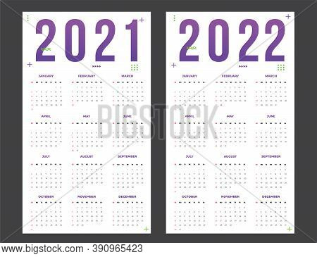 Calendar For 2021-2022 On A White Background. Sunday To Monday, Business Template