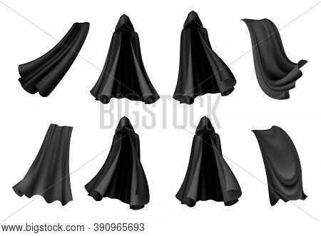 Set Of Isolated Black Cloak Icons With Realistic Images Of Gowns Of Death Costume For Halloween Vect