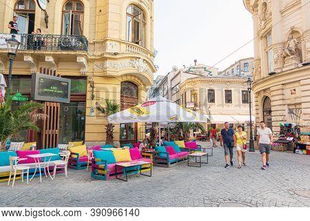 BUCHAREST, ROMANIA - August 28, 2017: Restaurants in Old Town Bucharest, Romania