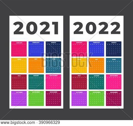 Calendar For 2021-2022 Colorful Background. Sunday To Monday, Business Template