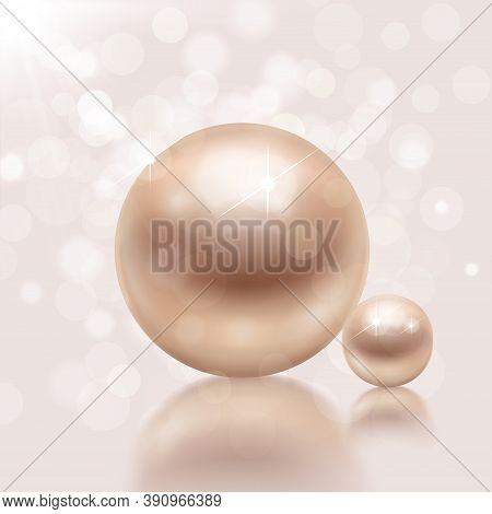 Realistic Pearls Background With Composition Of Flare Lights Blurred Specks With Big And Small Pearl