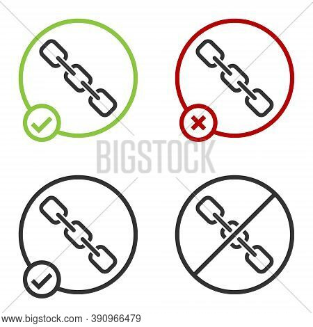 Black Chain Link Icon Isolated On White Background. Link Single. Hyperlink Chain Symbol. Circle Butt