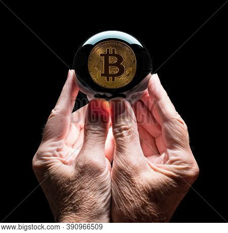 Crystal Futures Or Fortune Telling Ball Reflecting A Bitcoin Coin As Concept For Predicting The Futu