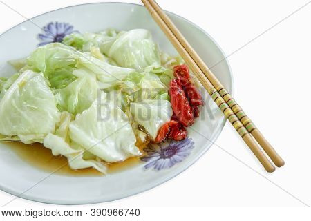 Vegetable Stir Fry In A Plate On Table. Close Up