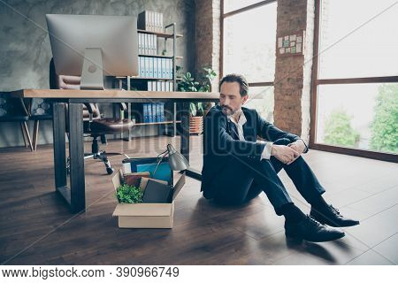 Photo Of Laid Off Dismissed Sad Worker Mature Guy Fail Fired Agent Loser Lost Job Packed Belongings