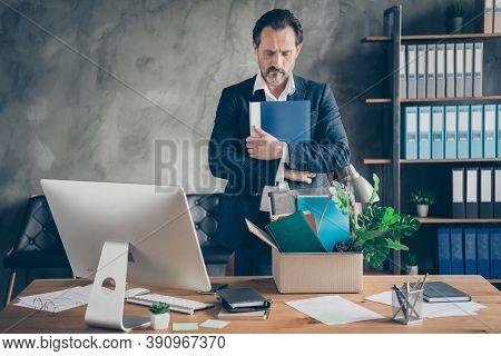 Photo Of Fired Despair Sad Worker Mature Guy Manager Loser Lost Job Hold Hug Diary Bad Mood Pack Bel