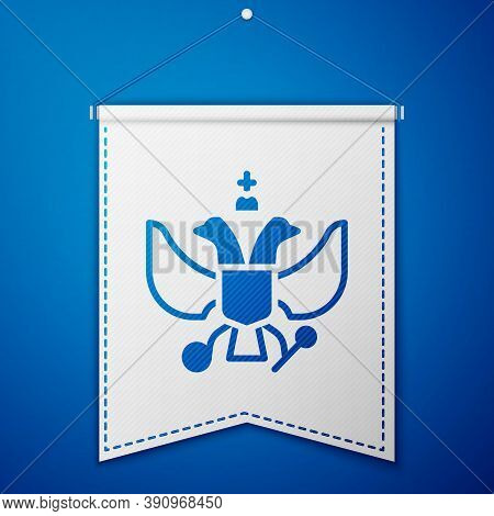 Blue National Emblem Of Russia Icon Isolated On Blue Background. Russian Coat Of Arms Two-headed Eag