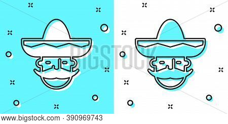 Black Line Mexican Man Wearing Sombrero Icon Isolated On Green And White Background. Hispanic Man Wi