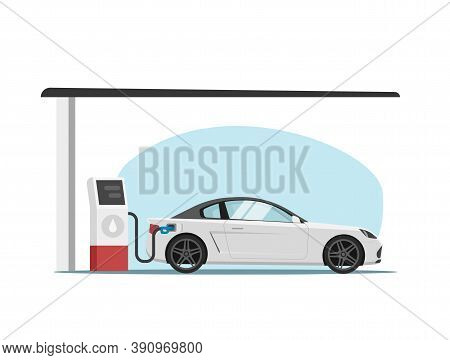 Petrol Gas Station With Car Automobile Refueling Vector Flat Cartoon Illustration, Vehicle Refilling