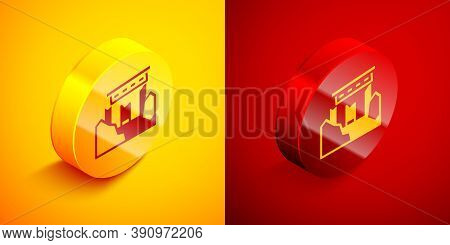 Isometric Ancient Ruins Icon Isolated On Orange And Red Background. Circle Button. Vector