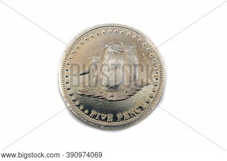 A Close Up View Of A Five Pence Coin From Gough Island