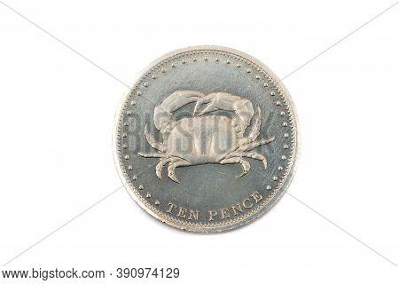 A Close Up View Of A Ten Pence Coin From Tristan Da Cunha