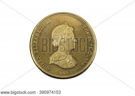 A Close Up View Of A Twenty Pence Coin From Tristan Da Cunha