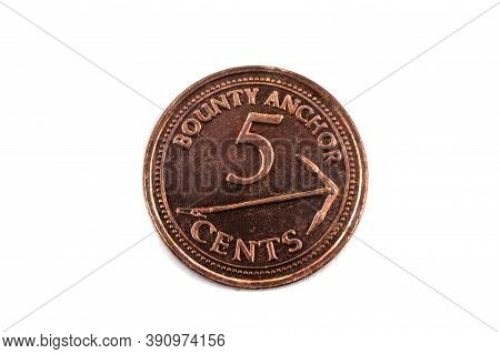 A Close Up View Of A Five Cents Coin From The Pitcairn Islands