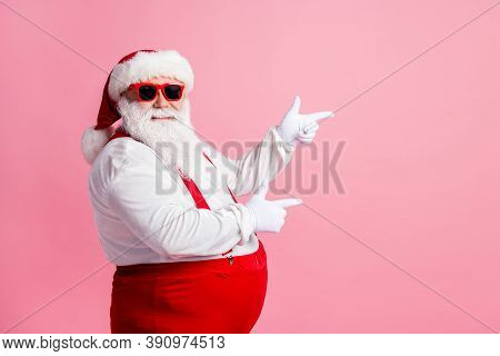 Profile Side Photo Of Funny Fat Overweight Santa Claus Point Index Finger Copyspace X-mas Adverts We