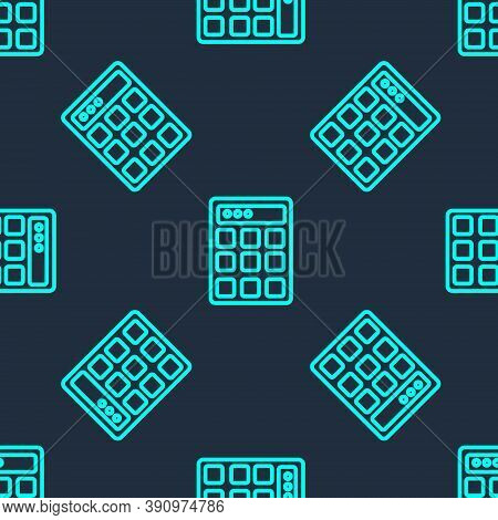 Green Line Password Protection And Safety Access Icon Isolated Seamless Pattern On Blue Background.