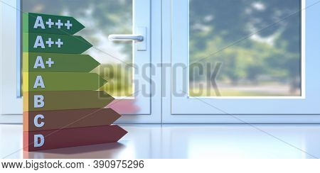 Energy Efficiency Chart On A Closed Aluminum Profile Frame Sill. 3D Illustration