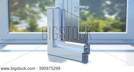 Pvc Aluminum Profile Frame Double Glazing Cross Section On A Closed Window Sill. 3D Illustration