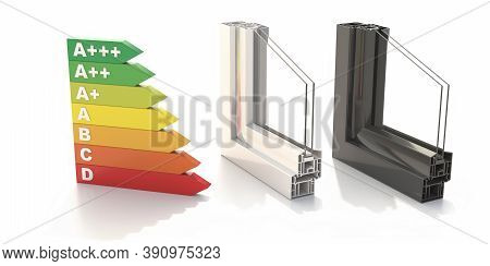 Pvc Aluminum Metal Frames With Two Glasses Isolated On White Background. 3D Illustration