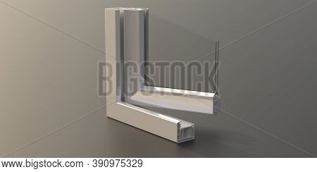 Pvc Aluminum Window Frame With Two Glasses Isolated On Grey Background. 3D Illustration